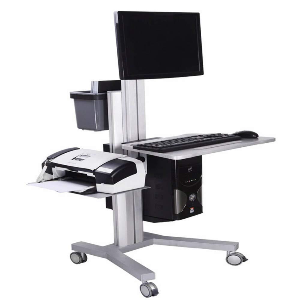 Height Adjustable Silent Wheels Stainless Steel Medical Computer Workstation Cart