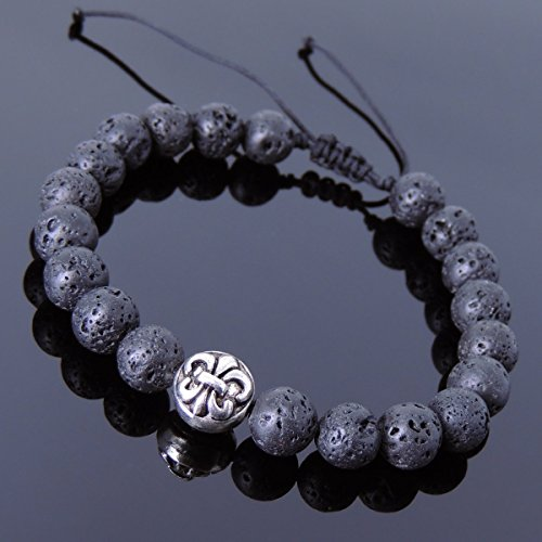 Men and Women Adjustable Braided Bracelet Handmade with 8mm Lava Rock and No Lead & Nickle Tibetan Silver Double-sided Fleur de Lis Bead ()