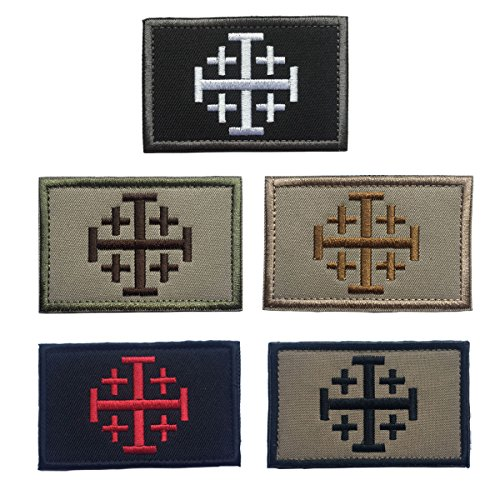 SpaceAuto Bundle 5 Pieces Jerusalem Cross Crusader Order Holy Sepulchre Tactical Morale Cross Embroidered Patch 3.14