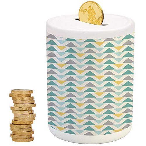 Zig Zag Kitty - Geometric,Ceramic Child Bank,Printed Ceramic Coin Bank Money Box for Cash Saving,Chevron Lines with Triangle Pattern Zigzag Retro Inspirations Abstract Decorative