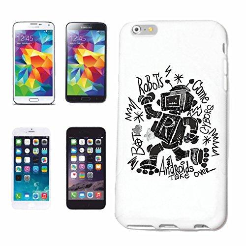 """cas de téléphone iPhone 7+ Plus """"ROBOTS SUR INLINER ROBOT biomécanique ANDROID IOS DISCO ROLLER Patins ROBOTS"""" Hard Case Cover Téléphone Covers Smart Cover pour Apple iPhone en blanc"""