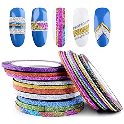 Tinffy 10 Rolls Shiny Glitter Striping Tape Line Decoration Sticker Tips Nail Art Stickers & Decals