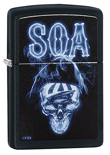 Zippo Sons Of Anarchy Glowing Skull Pocket Lighter  Black Matte