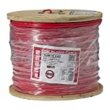 Vertical Cable Fire Alarm Cable, 16 AWG, 2 Conductor, Solid, Shielded, FPLR (Riser), 1000ft Spool, Red - Made in USA