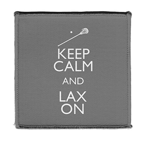 Keep Calm Drink LAX ON LACROSSE GREY - Iron on 4x4 inch Embroidered Edge Patch Applique