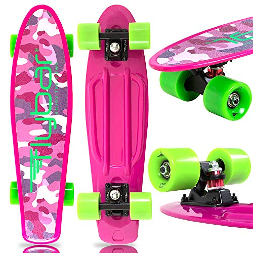 Flybar 22 Inch Complete Plastic Grip Tape Cruiser Skateboard Custom Non-Slip Deck Multiple Colors (Purple)