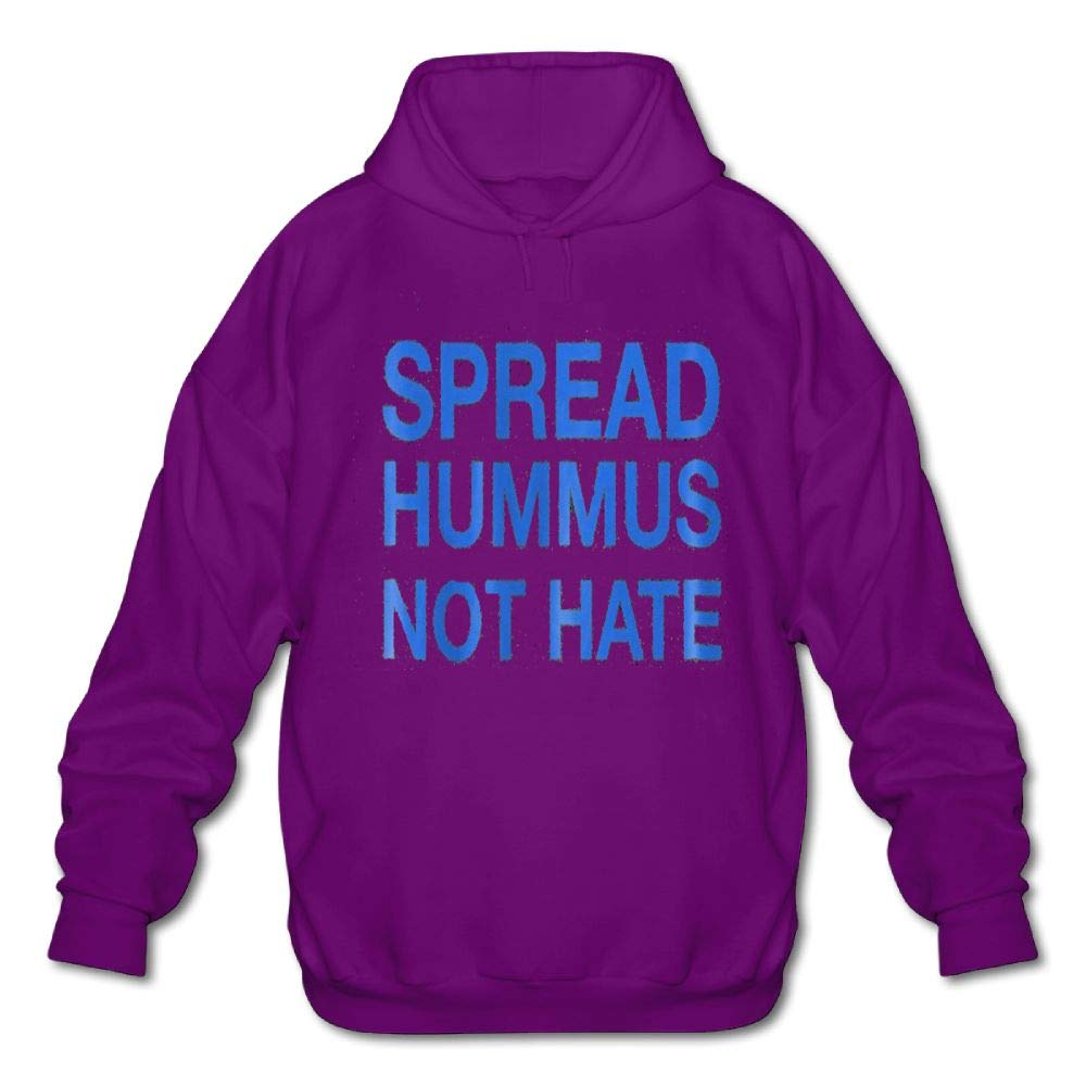 Mens Long Sleeve Cotton Hoodie Spread Hummus Not Hate Sweatshirt
