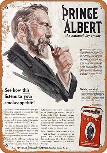 (DYTrade Vintage Look Metal Sign 8 x 12-1916 Prince Albert Crimp Cut Pipe and Cigarette Tobacco)