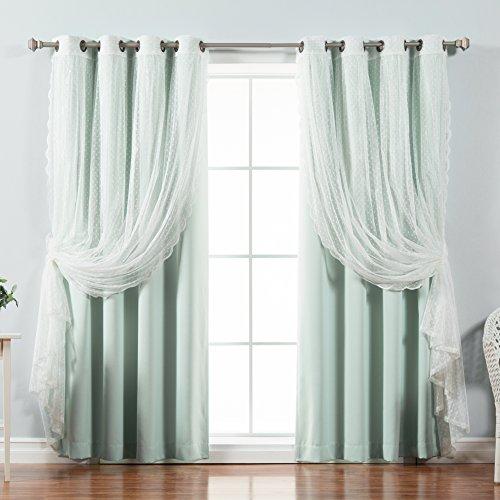 Best Home Fashion Mix & Match Dotted Tulle Lace & Solid Blackout Curtain Set – Antique Bronze Grommet Top – Mint – 52