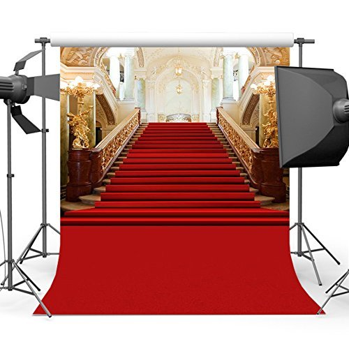 Mehofoto 5x7ft Red Carpet Photo Backdrop Bright Stage Lighting Photography Background Custom Polycotton Photo Booth Backdrops for Photographers from Mehofoto