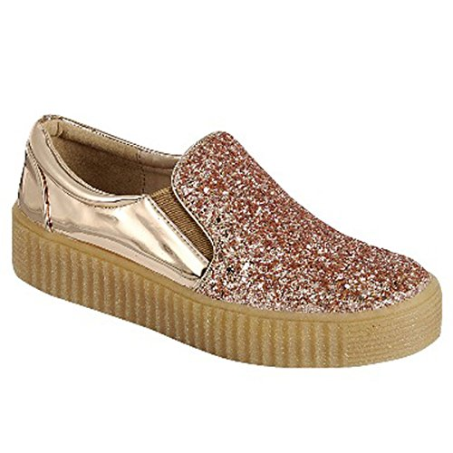 Best Clearance Sale Metallic Rose Gold Bling Sport Sneaker Top Crepe Rubber Sole Round Toe Anti Skid Kung Fu Flat Modern Casual Flashy Easter Sketcher Bootie Shoe for Women Teen Girl (Size 7.5, RGold)