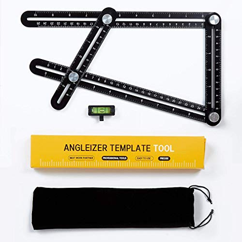 Multi Angle Measuring Ruler Universal Angularizer Ruler - Full Metal Aluminum Alloy Multi Function Ruler with Extra Line Level Great for Handymen, Builders, Carpenters,Tilers,DIY-ers (Black)
