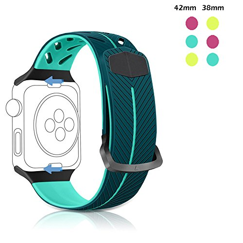 Rodash for Apple Watch Band 38mm 42mm, Lightweight Silicone Breathable Replacement Band for Apple Watch Series 1, Series 2, Series 3, Sport, Nike+