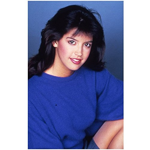 Phoebe Cates 8 Inch x 10 Inch Photo from Slide Fast Times at Ridgemont High Gremlins Drop Dead Fred Blue Shirt Blue Background kn (Phoebe Cates Fast Times At Ridgemont High)