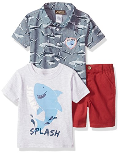 Nannette Baby Boys' 3 Piece Set with a Button Down Shirt Tee and Short, Blue, (Nannette 3 Piece)