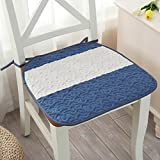 YQ WHJB Linen Seat Cushions,Anti-slip Chair Cushion,Four Seasons Universal Thin Mats Decorative Ties Office Dining Buttocks Cushions Chair Pad-Blue 45x45cm(18x18inch)