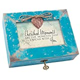 Cottage Garden Cherished Moments are With You Teal Wood Locket Jewelry Music Box Plays Tune Wind Beneath My Wings