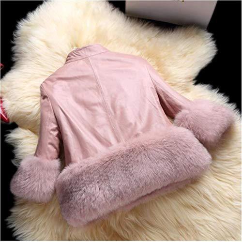 chaud élégantes femmes de manches de épaissir fourrure à manteau d'hiver décontractée cuir fit mode longues coutures en synthétique faux slim Vintage veste 7RZOtwqnx7
