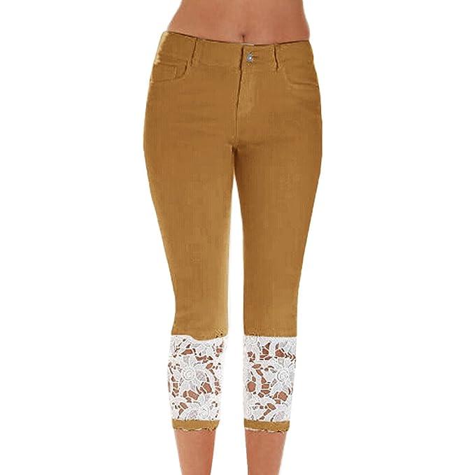 Mujer Encaje Tramo Pantalones Vaqueros Sexy Slim Skinny Moda ...