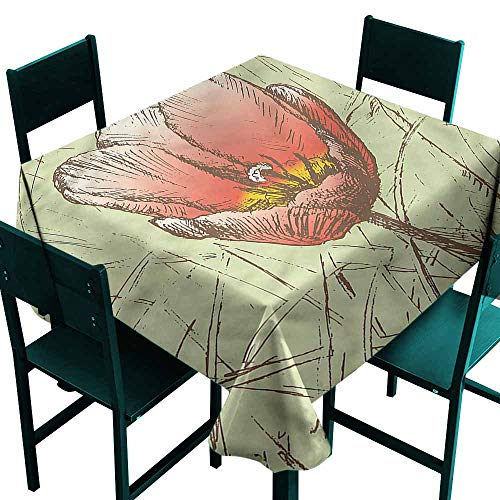 - DONEECKL Waterproof Tablecloth Tulip Romantic Flower Sketch Table Decoration W50 xL50