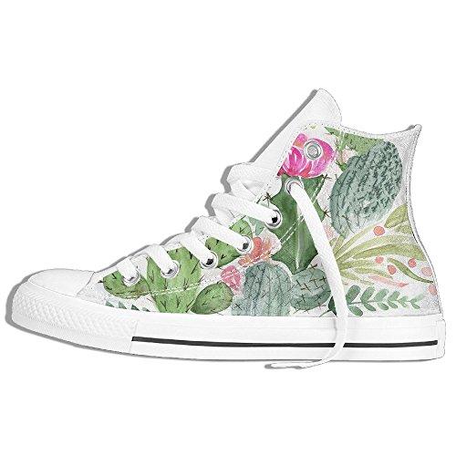 Klassiske Høy Topp Joggesko Canvas Sko Anti-skli Kaktus Akvarell Uformell Gang For Menn Kvinner Hvite