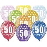 """SiDeSo lot de 10 ballons gonflables portant le chiffre ® 50/12 """"multicolore métallisé mix fêtes d'anniversaire"""