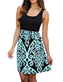 Sherosa Women's Summer Beach Sleeveless Tank Top Floral Print Casual Swing Mini Dress (M, Blue 2)