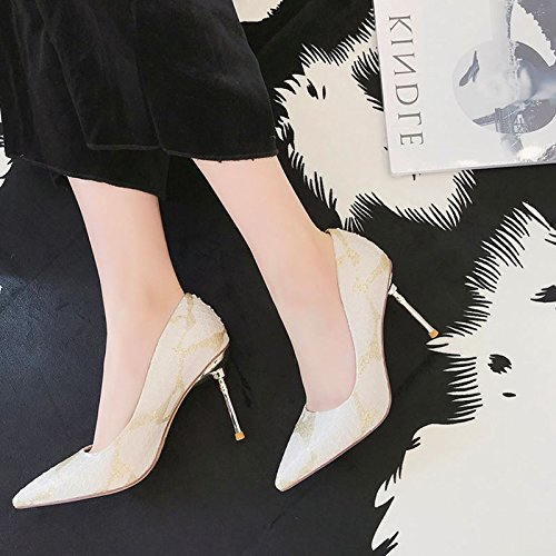 Personality With High Shoes Work Spring Point Shoes A Match 9Cm Fine Elegant White 37 Fashion Leisure Club MDRW Heeled Lady Sexy Snake All zFUw77