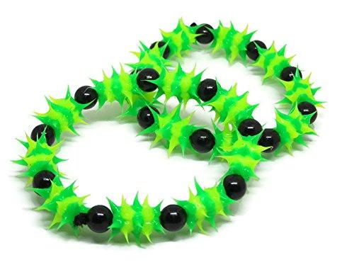 Rubber Bead For Hair & Bracelet UV Neon Colour & Design Cyber Party (green-black) (Da Modern Sconce)