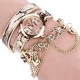 Duoya Women's Chain Bracelet Crystal Watch Wrap Around Pattern Band D028