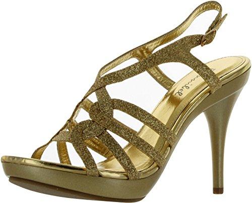Bonnibel Amy-32 Womens Spänne Sele Tillbaka Remmar Kors Och Tvärs Sandaler, Färg: Guld, Storlek: 7,5
