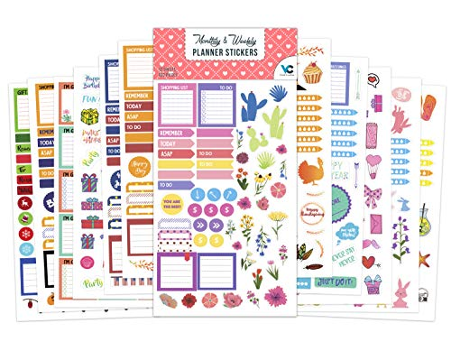 Vladi Creative Planner Stickers - 12 Sheets / 630+ Stickers Value Pack - Productivity & Decorative Stickers for Daily, Weekly, Monthly Planners & Bullet Journals (+Seasonal & Holiday Stickers)