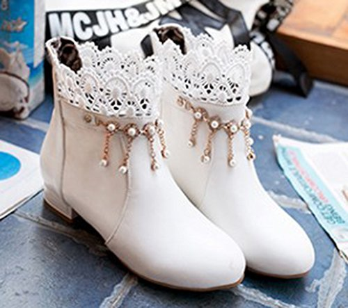 Boots Strass Dentelle Femme Bottines Low Franges Aisun Chic x6IznEq