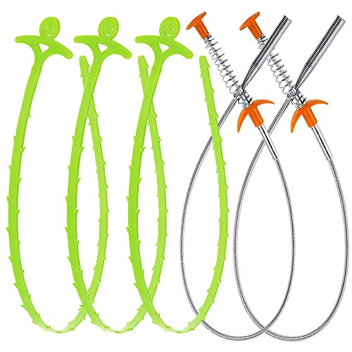 Drain Snake Auger Clog Remover Flexible Grabber Pick Up Tool - Unclog Hair from Drain, Shower, Sink, Bathtub, Toilet, Cleaner Dryer Vents Stainless Steel (Set of 2 with 3 Bonus Plastic Drain Snake)