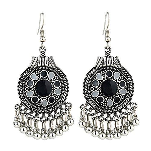 Infgreate Retro Ethnic Round Enamel Pendant Tassels Hook Earrings Beautiful And Lovely Jewelry Women Party Jewelry Black