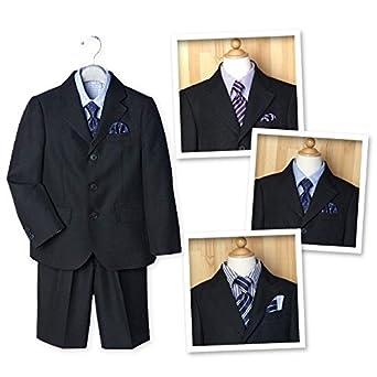 4320caf8e9bcc 子供服 男の子 フォーマルスーツ 入学式 長袖 5点セット ジャケット ポケットチーフ シャツ ネクタイ