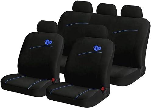 Yangd Autositzbezüge Set Universal Sitzbezüge Auto Vordersitze Und Rückbank Komplettset Mit Blumenmuster Für Auto Zubehör Innenraum Color Black Blue Auto