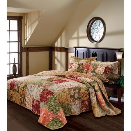 100 Percent Cotton Face, Back and Fill Global Trends Antique Chic Bedspread TWIN SIZE Bedding Set by EasyCare