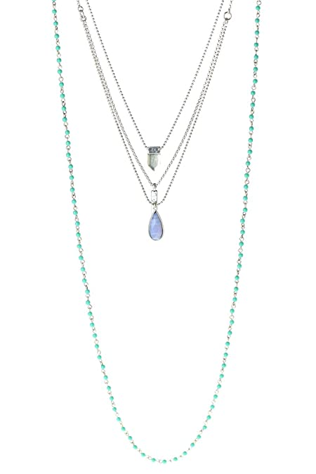 ecd57e08bd725 Amazon.com: Lucky Brand Silver and Turquoise Three Layer Necklace ...