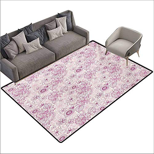 (Inner Door Rug Floral Shabby Chic Vintage Flower Motifs in Soft Toned Essence Beauty Nature Design Non-Slip Door mat pad Machine can be Washed W70 xL106 Fuchsia Pale Pink)