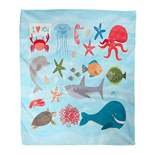 t Warm Cozy Print Flannel Cute Sea Animals Dolphin and Octopus Turtle Jellyfish Horse Shark Cancer Comfortable Soft for Bed Sofa and Couch 50x60 Inches ()