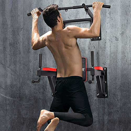 OneTwoFit Multifunctional Wall Mounted Pull Up Bar Power Tower Set Chin Up Station Home Gym Workout Strength Training Equipment Fitness Dip Stand Supports to 330 Lbs OT076 by ONETWOFIT (Image #1)