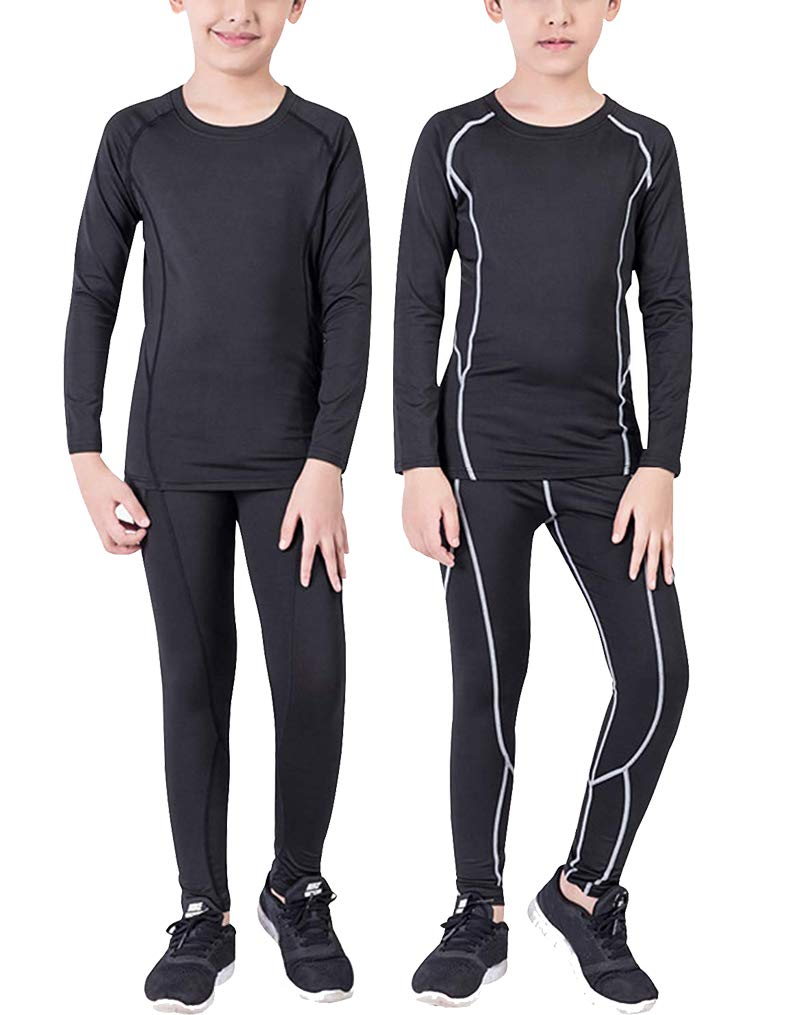 Boy's 2 Pack Compression Undearwear Sets Dry Fit Baselayer Top & Bottom Long Sleeve Tights by Junyue