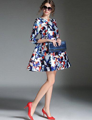 PU&PU Robe Aux femmes Patineuse Vintage / Simple,Géométrique Col Arrondi Au dessus du genou Polyester , white-l , white-l