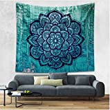 Oyeahbridal Indian Mandala Hippie Tapestry Psychedelic Bohemian Tapestries Buddhism Lotus Floral Tapestry Wall Hanging Throw Indian Dorm Bedroom Art Decor(Black Blue,(59x82Inches)(150x210cms))
