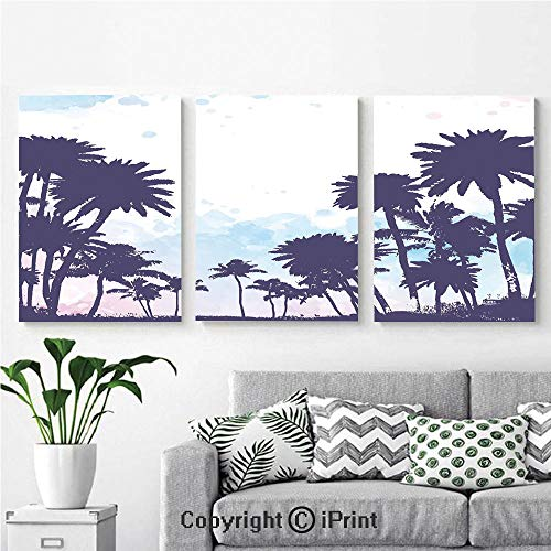 3PCS Triple Decoration Painting Wall Mural Miami South American Plant Forest Tropic Natural Palm Trees Art Print Living Room Dining Room Studying Aisle Painting,16