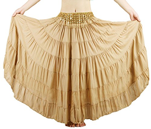 Seawhisper Belly Dance 8 Yard Bohemia Skirt, Tiered Maxi Tribal Skirt with Gold Coins Belt (dark Khaki)