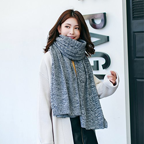 Everton Christmas Sweater - Knitted sweater scarf, autumn winter long paragraph thickening, warm shawl dual-use,Navy
