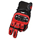 Sdcvopl Protective Gloves Carbon Fiber Motorcycle Full Finger Gloves for Motorbike Cycling Racing Hiking Ventilation (Color : Red, Size : L)