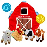 Plush Farm Animals for Toddlers | Fun Learning Toys Set with Sound & Barn| Little Talking Stuffed Cow, Horse, Lamb, & Rooster with Farmhouse for Boys & Girls | Set of 4